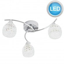 3 Light Swirl Twist Fitting with Crystal Effect Glass Shades with LED Bulbs