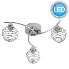 3 Light Swirl Twist Fitting with Metal Spiral Shades with LED Bulbs
