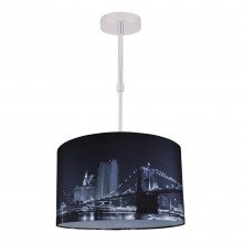 Digitally Printed Ceiling Adjustable Flush Shade with New York City Skyline 400mm Diameter