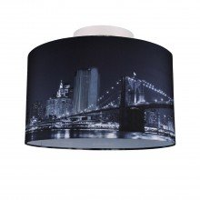 Digitally Printed Ceiling Flush Shade with New York City Skyline 400mm Diameter