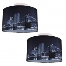 Set of 2 Digitally Printed Ceiling Flush Shade with New York City Skyline 400mm Diameter