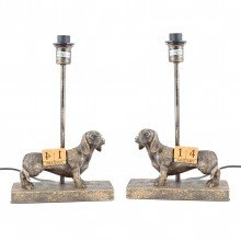 Pair of Bronze Dog Table Lamp Bases