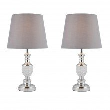 Pair of Moulded Glass Detail Table Lamp with Grey Shades