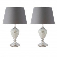 Pair of Mirrored Crackle Glass Table Lamp with Grey Shades