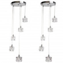 Pair of Chrome 5 Light Cluster Fitting with Ice Cube Glass Shades