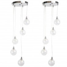Pair of Chrome 5 Light Cluster Fitting with Glass Globe Shades