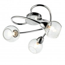 Chrome 3 Light Fitting with Bubbled Glass Shades