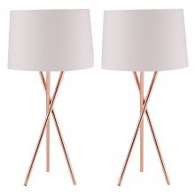 Pair Copper Tripod Table Lamp with White Fabric Shade