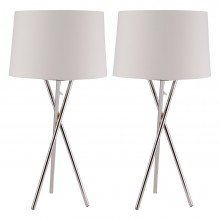 Pair Chrome Tripod Table Lamp with White Fabric Shade