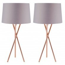 Pair Copper Tripod Table Lamp with Grey Fabric Shade