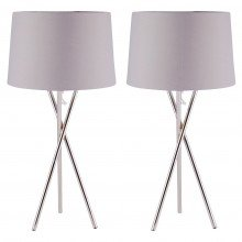 Pair Chrome Tripod Table Lamp with Grey Fabric Shade