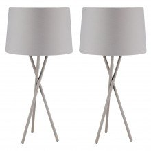 Pair Grey Tripod Table Lamp with Grey Fabric Shade