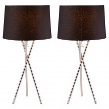 Pair Chrome Tripod Table Lamp with Black Fabric Shade