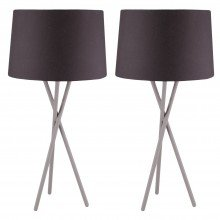 Pair Grey Tripod Table Lamp with Black Fabric Shade