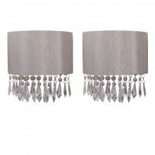 Set of 2 Jewelled Silver Grey Fabric Wall Lights With Clear Beaded Crystal Style Strings