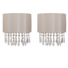 Set of 2 Jewelled Pale Gold Fabric Wall Lights With Clear Beaded Crystal Style Strings