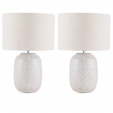 Set of 2 Reactive Glazed Textured Ceramic Table Light with Natural Linen Cylinder Drum Fabric Shade
