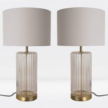 Set of 2 Fluted Design Table Lamp Finished in Clear Glass and Bronze Effect Colour with Grey Woven Cylinder Fabric Shade