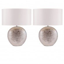 Set of 2 Dimpled Oval Chrome Plated Ceramic Bedside Table Light Base with White Faux Silk Oval Fabric Shade