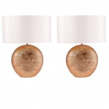 Set of 2 Dimpled Textured Oval Copper Plated Ceramic Bedside Table Light Base with White Faux Silk Oval Fabric Shade