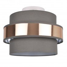2 Tier Grey Fabric & Brushed Copper Plated Banded Ceiling Flush Shade