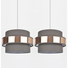 Set of 2 Easy Fit 2 Tier Grey Fabric & Brushed Copper Plated Banded Ceiling Shade