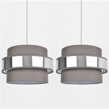 Set of 2 Easy Fit 2 Tier Grey Fabric & Brushed Silver Plated Banded Ceiling Shade