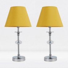 Set of 2 Chrome Plated Stacked Bedside Table Light with Faceted Acrylic Detailing and Ochre Fabric Shade