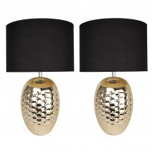 Set of 2 Textured Ceramic Bedside Table Light with Pale Gold Plated Finish and Black Textured Cotton Fabric Shade
