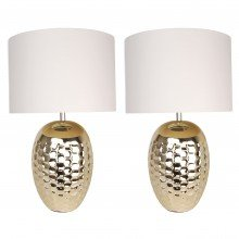 Set of 2 Textured Ceramic Bedside Table Light with Pale Gold Plated Finish and White Textured Cotton Fabric Shade