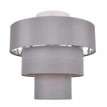 Staggered 3 Tier Grey Faux Silk Slub Fabric Ceiling Flush Shade with Chrome Board Inner