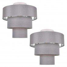 Set of 2 Staggered 3 Tier Grey Faux Silk Slub Fabric Ceiling Flush Shade with Chrome Board Inner