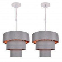 Set of 2 Staggered 3 Tier Grey Faux Silk Slub Fabric Ceiling Adjustable Flush Shade with Copper Board Inner