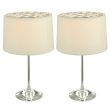 Set of 2 Lamps with Ivory Jewelled Shades