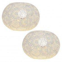 Set of 2 Modern White Table Lamps Bedside Lights Morrocan Urchin Design