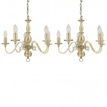 Set of 2 Antique Brass Chandeliers 5 Arm Ceiling Light Fittings