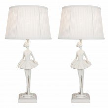 Set of 2 Ivory Ballerina Lamp with Pleated Shades