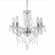 Clear and Chrome Marie Therese Style 5 x 40W Chandelier
