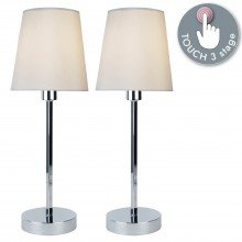 Pair of Chrome Touch Lamps With Ivory Fabric Shades