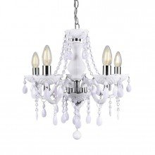 White and Chrome Marie Therese Style 5 x 40W Chandelier