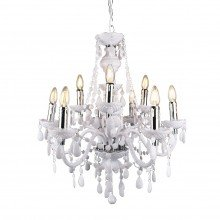Gloss White and Chrome Marie Therese Style 9 x 40W Chandelier
