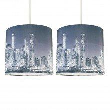 Set of 2 Digital Print New York Skyline 20cm Light Shades