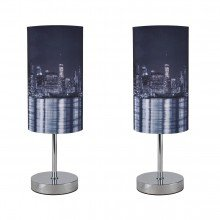 Pair of New York Skyline 30cm Table Lamps