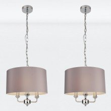 Pair of 3 Light Chrome Pendant Chandelier with Grey Fabric Shade