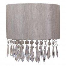 Jewelled Silver Grey Fabric Fabric Wall Light With Clear Beaded Crystal Style Strings