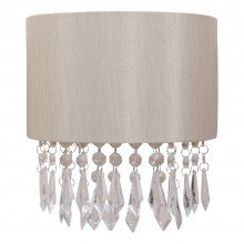 Jewelled Pale Gold Fabric Wall Light With Clear Beaded Crystal Style Strings
