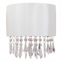 Jewelled Ivory Fabric Wall Light With Clear Beaded Crystal Style Strings