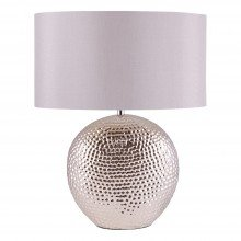 Dimpled Textured Oval Chrome Plated Ceramic Bedside Table Light Base with Grey Faux Silk Oval Fabric Shade