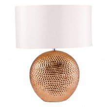 Dimpled Textured Oval Copper Plated Ceramic Bedside Table Light Base with White Faux Silk Oval Fabric Shade