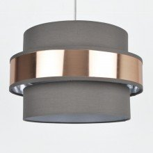 Easy Fit 2 Tier Grey Fabric & Brushed Copper Plated Banded Ceiling Shade